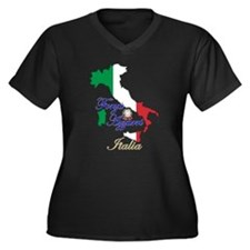 Forza Azzurri Women's Plus Size V-Neck Dark T-Shir