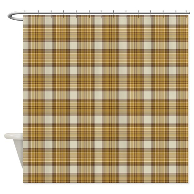 Brown Plaid Shower Curtain By Kippygocontempo