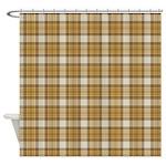 Brown Plaid Shower Curtain