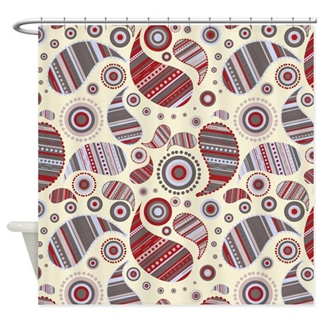 Cranberry Paisley Shower Curtain by kippygocontempo