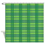 Green Plaid Shower Curtain