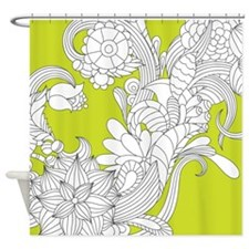 Lime Floral Sketch Shower Curtain