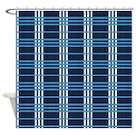 Navy Blue Plaid Shower Curtain
