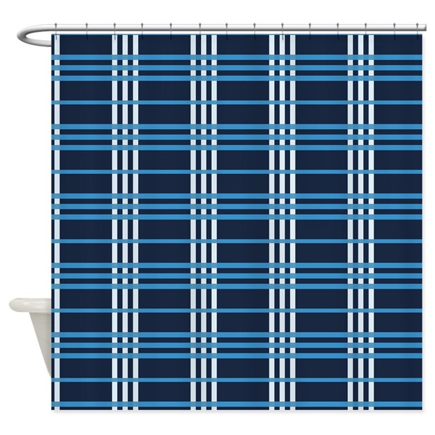 navy blue plaid shower curtain by kippygocontempo