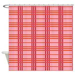 Pink Plaid Shower Curtain