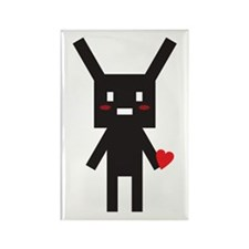 Black Bunny Robot in Love Rectangle Magnet