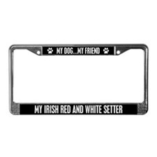 Irish Red and White Setter License Plate Frame