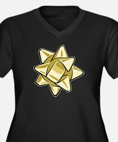 Gold Bow Women's Dark Plus Size V-Neck T-Shirt