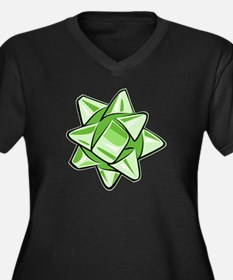 Green Bow Women's Dark Plus Size V-Neck T-Shirt