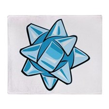 Light Blue Bow Throw Blanket