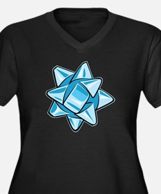 Light Blue Bow Women's Dark Plus Size V-Neck T-Shi