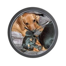 Puppies in Bed Dachshund Dogs Wall Clock