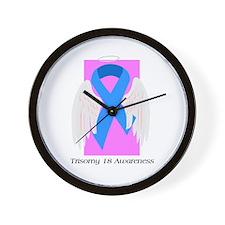 Cute Blue awareness ribbon Wall Clock