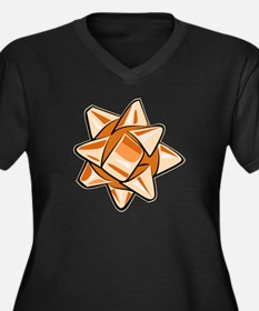 Orange Bow Women's Dark Plus Size V-Neck T-Shirt