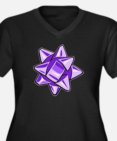 Purple Bow Women's Dark Plus Size V-Neck T-Shirt