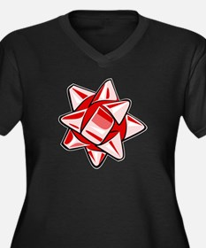 Red Bow Women's Dark Plus Size V-Neck T-Shirt