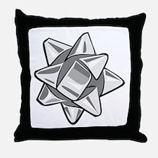 Silver Bow Throw Pillow