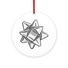 Silver Bow Round Ornament