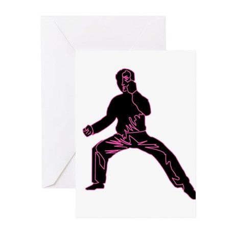 Blue Fist Pink Greeting Cards (Pk of 10)