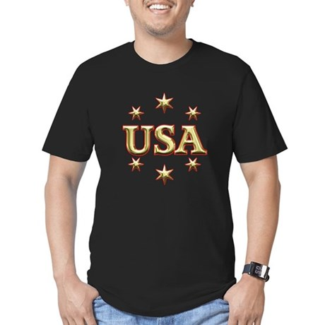 USA Gold Men's Fitted T-Shirt (dark)