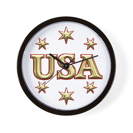 USA Gold Wall Clock