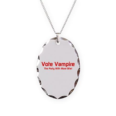 Vote Vampire Necklace Oval Charm