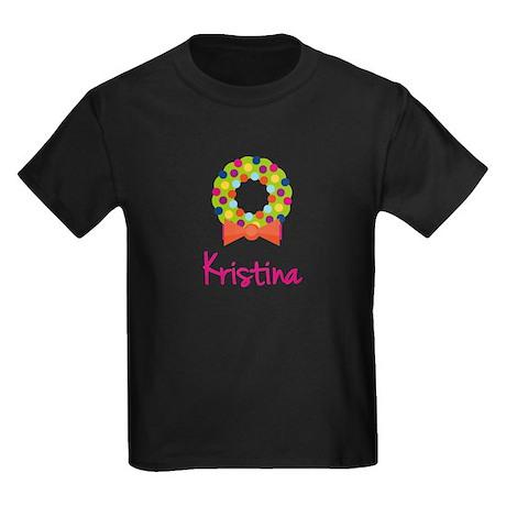 Christmas Wreath Kristina Kids Dark T-Shirt