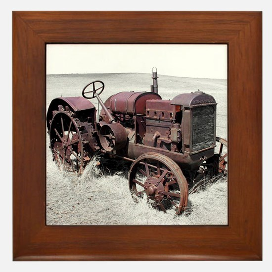 Old, Rusted Tractor Framed Tile