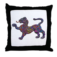 Royal Spotted Leopard Geometr Throw Pillow