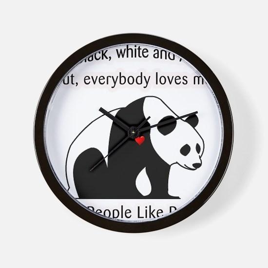 Treat People Like Pandas Wall Clock