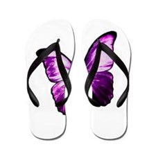 Purple Butterfly Flip Flops