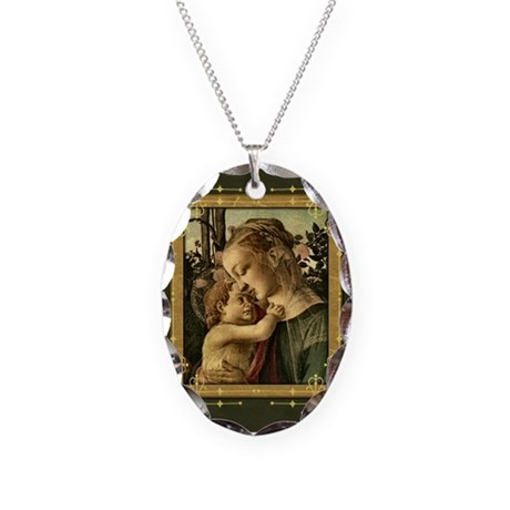 Madonna and Baby Jesus Necklace Oval Charm
