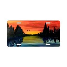Country Scene Aluminum License Plate