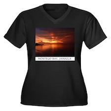 Montego Bay Sunset Women's Plus Size V-Neck Dark T