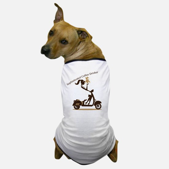 Sophisticated Coffee Drinker Dog T-Shirt