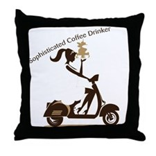 Sophisticated Coffee Drinker Throw Pillow