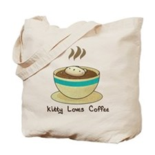 Kitty Loves Coffee (w & w/o t Tote Bag
