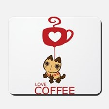 Crazy Cat Loves Coffee Mousepad