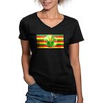 Old Hawaiian Flag Design Women's V-Neck Dark T-Shi