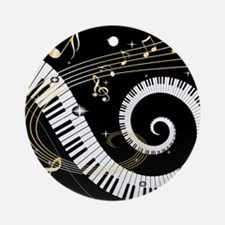 Mixed Musical Notes (black go Ornament (Round)