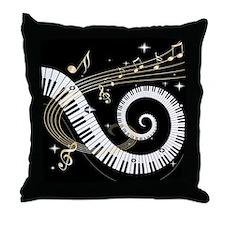 Mixed Musical Notes (black go Throw Pillow