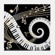 Mixed Musical Notes (black go Tile Coaster