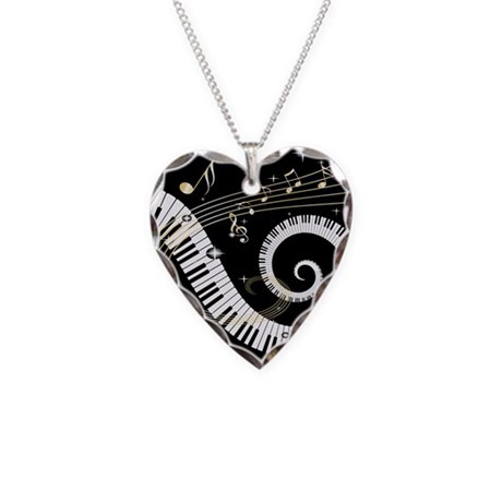 Mixed Musical Notes (black go Necklace Heart Charm