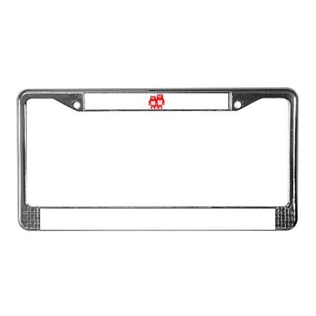 Red Owl Family Design License Plate Frame