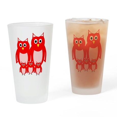 Red Owl Family Design Drinking Glass