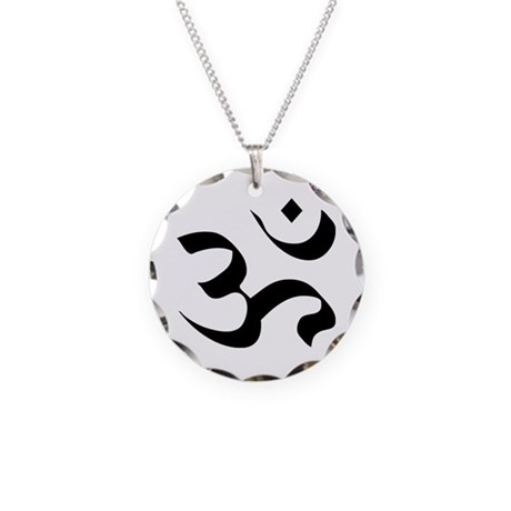 Om Meditation Symbol Necklace Circle Charm