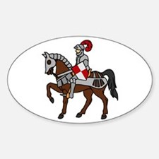 Knight Mounted On Horse Sticker (Oval)