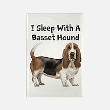 I Sleep With A Basset Hound Rectangle Magnet