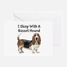 I Sleep With A Basset Hound Greeting Card