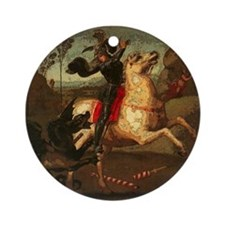 St. George Fighting Dragon Ornament (Round)